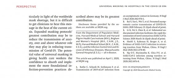 New England Journal of Medicine - studio Universal masking in hospital in the Covid-19 era